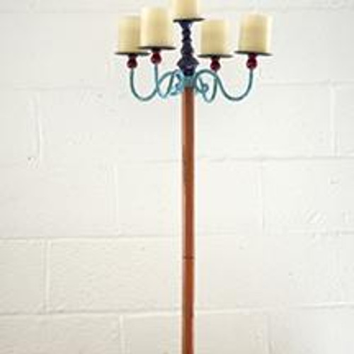 TALL CANDELABRA WITH GREEN BASE or PURPLE BASE