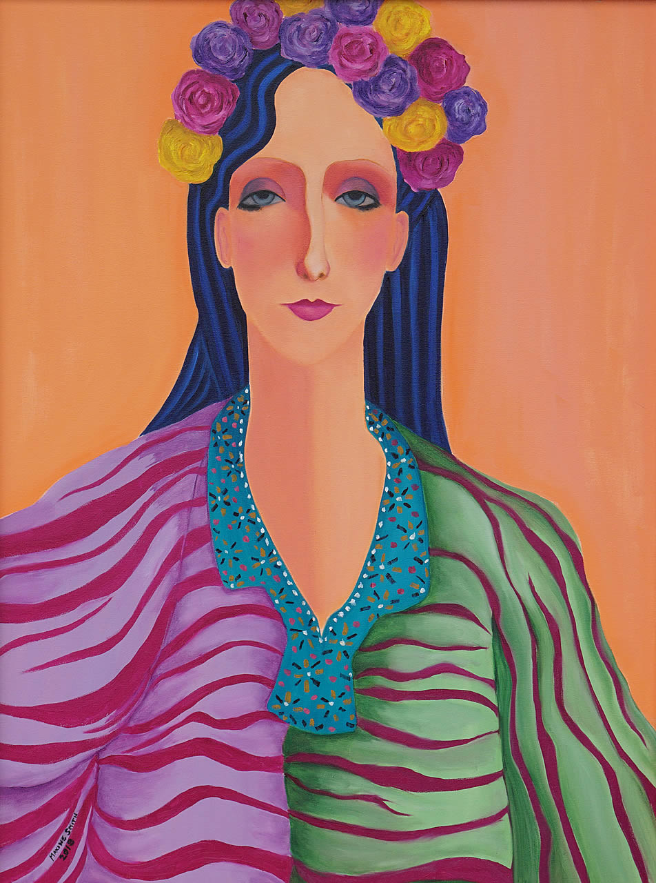 Woman in Floral Headpiece