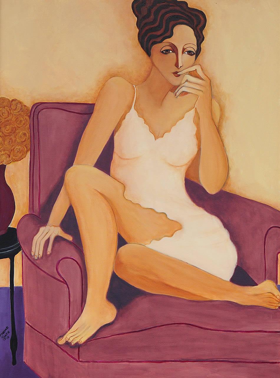 Woman on Purple Chair