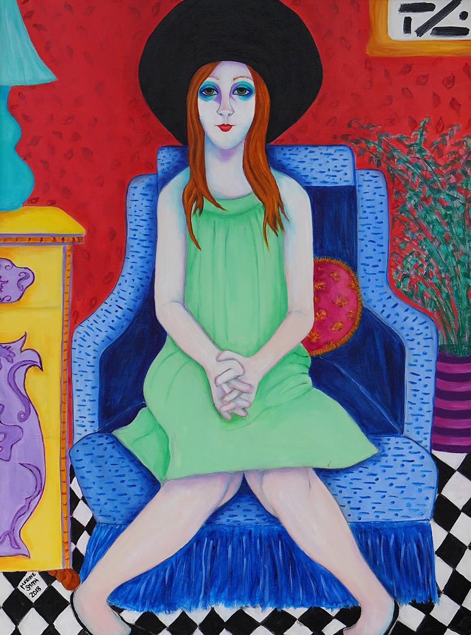 Young Girl in Blue Chair
