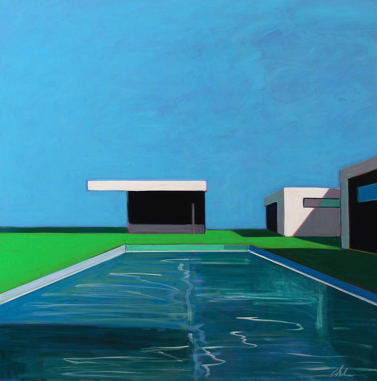 Pool with 3 Modern Buildings