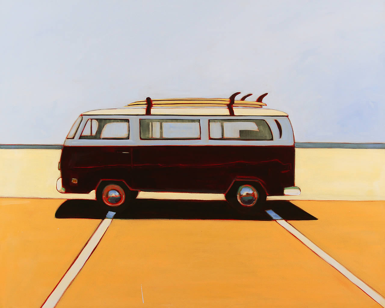 VW Bus in Maroon