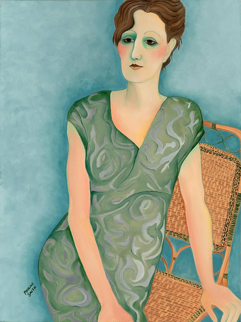 Woman on Rattan Chair