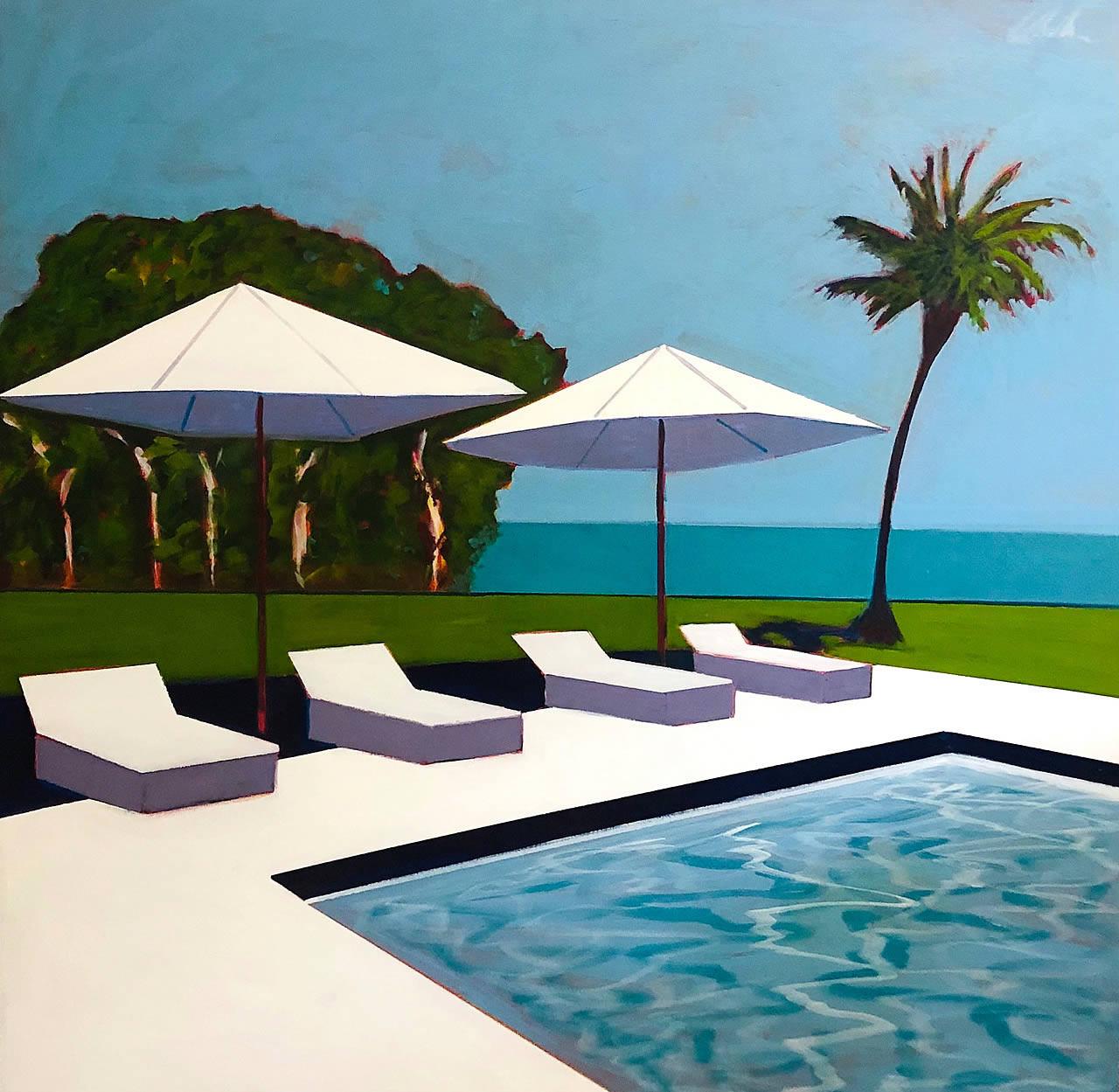 Pool, White Umbrellas and Palm