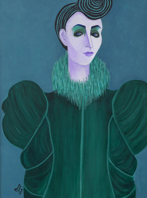 view Woman in Green Fur Collar