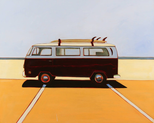 view VW Bus in Maroon