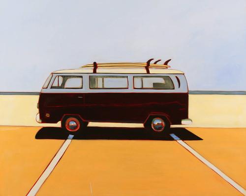 view VW Bus in Maroon