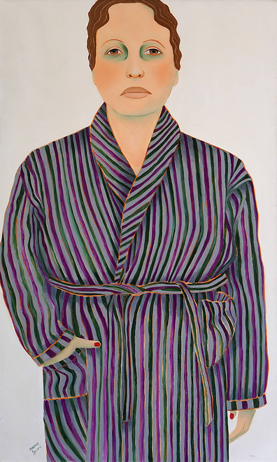 view Woman in Striped Robe