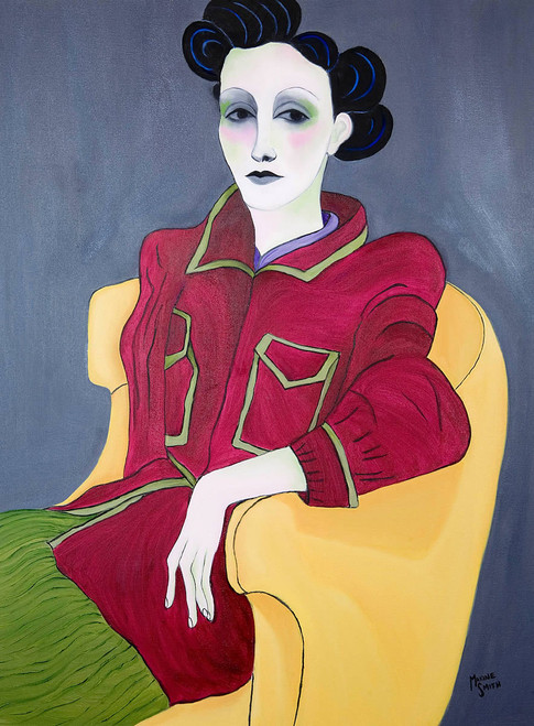 view Woman Seated in Yellow Chair