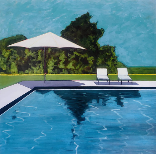 view Backyard Pool with Umbrella and Two Chairs