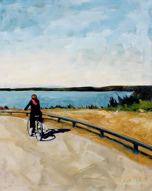 view Cyclist by the Lake