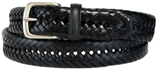 big men's black braided leather belt