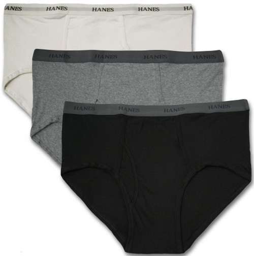 Hanes BRIEFS 3-Pack Underwear Black Gray White 3XL - 9XL #1224