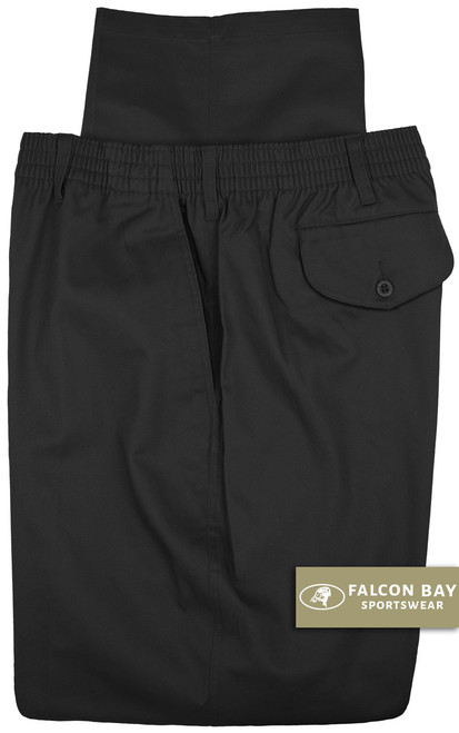 Big & Tall Men's Falcon Bay Casual Twill Pants FULL ELASTIC Black - Gallery