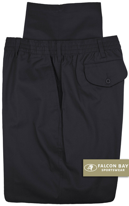 Big & Tall Men's Falcon Bay Casual Twill Pants FULL ELASTIC Navy - Gallery