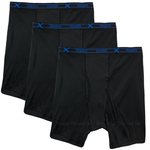Big Men's X-TEMP Underwear LONG Boxer Briefs 4XL 5XL 6XL Hanes Ultimate 3-Pack