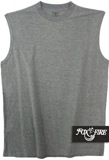 Sleeveless gray muscle tee for big and tall by foxfire