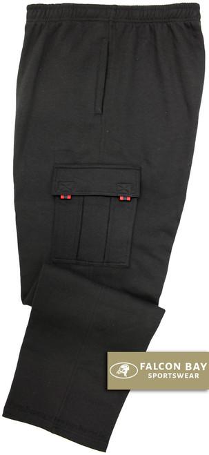 Black Falcon Bay Big Men's Fleece Cargo Pants