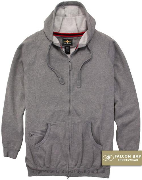 Gray Falcon Bay Full Zip Fleece Hoodie