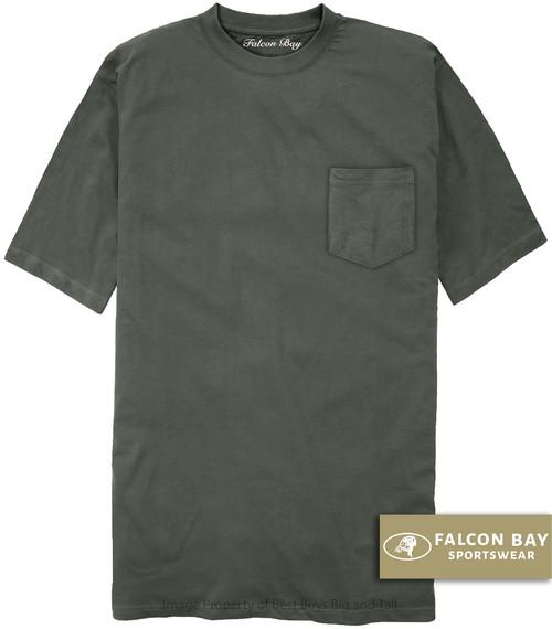 Charcoal Gray Falcon Bay 100% Cotton Pocket T-Shirt