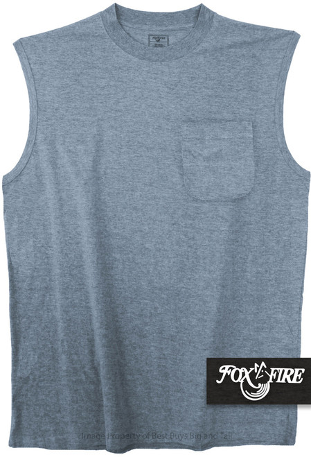 Heather Blue Foxfire POCKET Muscle Tee