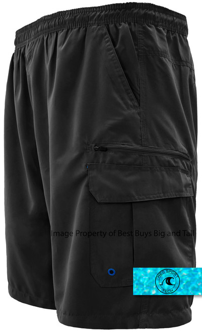 Solid Black H2O Sport Tech Cargo Swim Trunks