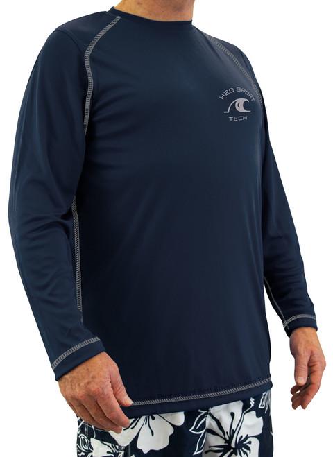 Navy blue long-sleeve raglan swim shirt