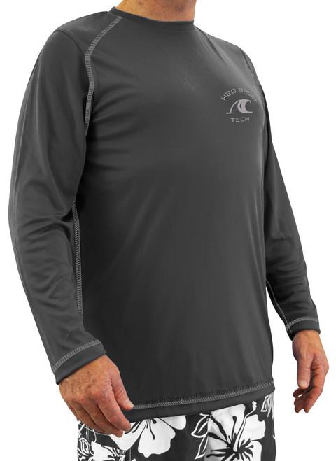 Charcoal Gray Long-Sleeve Raglan Swim Shirt