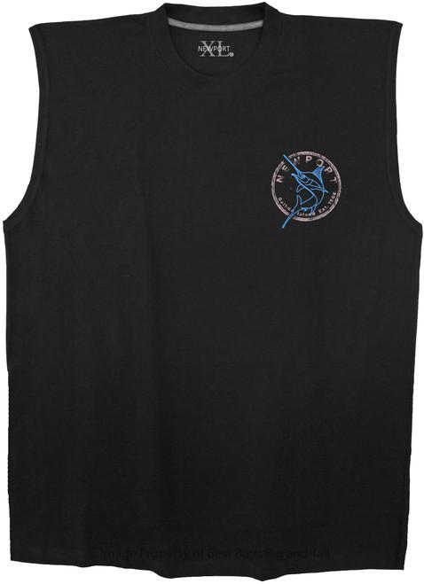 Black NewportXL Cotton Muscle Tee Swordfish Print