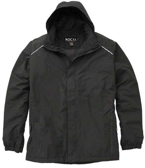 ROCXL Fleece-Lined Black Hooded Zip Jacket