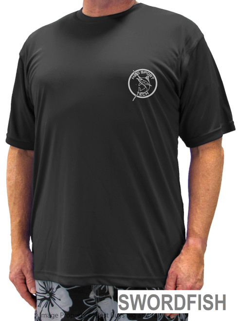 Black Short Sleeve Swim Athletic Shirt - Swordfish
