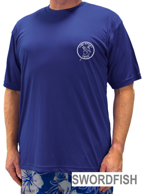 Royal Blue Short Sleeve Swim Athletic Shirt - Swordfish