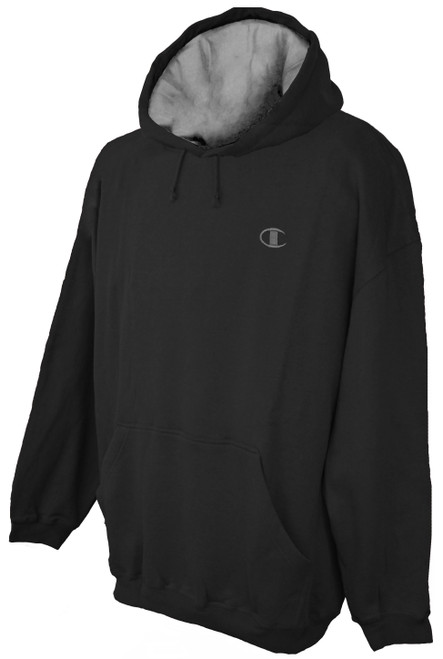 Black Champion Fleece Pullover Hoodie - Solid Logo