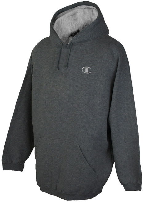 Charcoal Champion Fleece Pullover Hoodie - Solid Logo