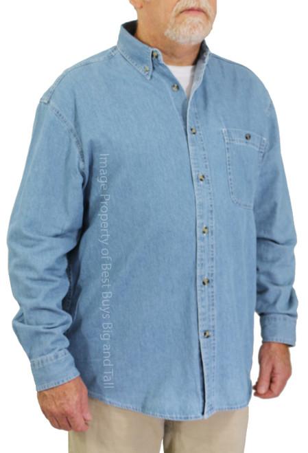 ROCXL Long Sleeve Denim Shirt LIGHT BLUE