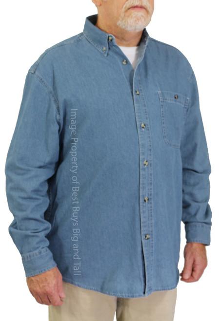 ROCXL Long Sleeve Denim Shirt MEDIUM BLUE 6XL 5XLT 6XLT #758C