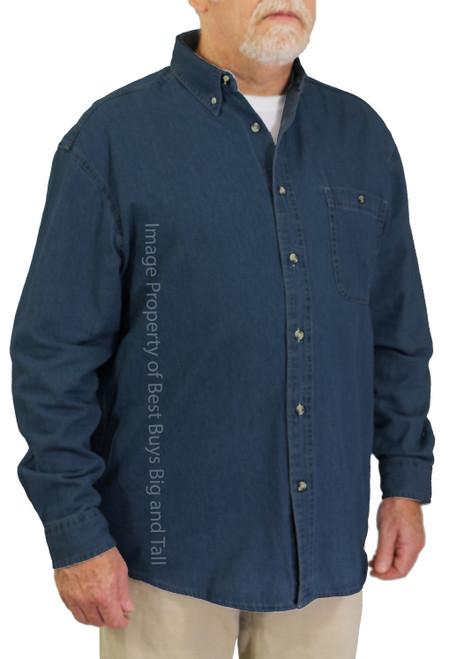 ROCXL Long Sleeve Denim Shirt DARK BLUE 3XL-6XL 2XLT-6XLT #758D