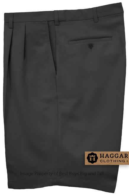 Haggar BLACK Pleated Casual Shorts Expandable Waist