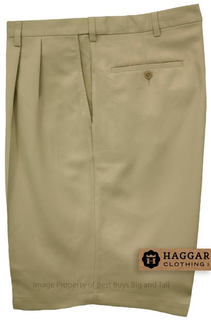 Haggar KHAKI Pleated Casual Shorts Expandable Waist