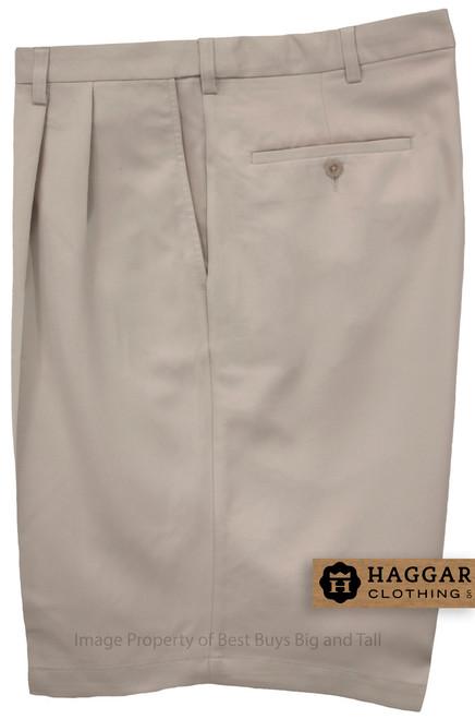Haggar LIGHT KHAKI Pleated Casual Shorts Expandable Waist