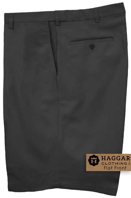 Black Haggar Casual Shorts FLAT FRONT Expandable Waist