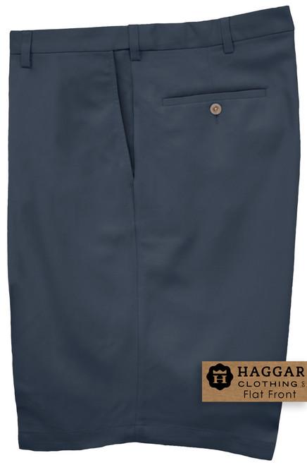 Navy Haggar Casual Shorts FLAT FRONT Expandable Waist