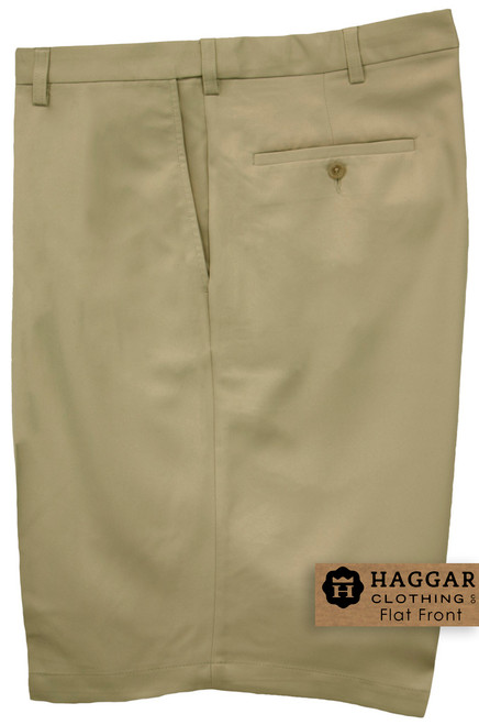 Khaki Haggar Casual Shorts FLAT FRONT Expandable Waist