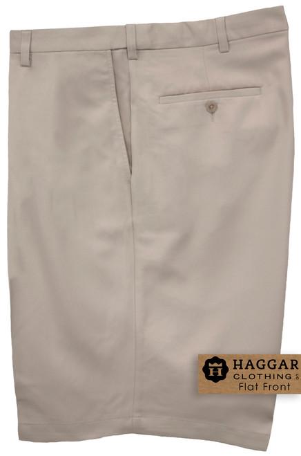 Light Khaki Haggar Casual Shorts FLAT FRONT Expandable Waist