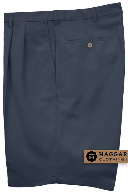 Haggar NAVY Pleated Casual Shorts Expandable Waist