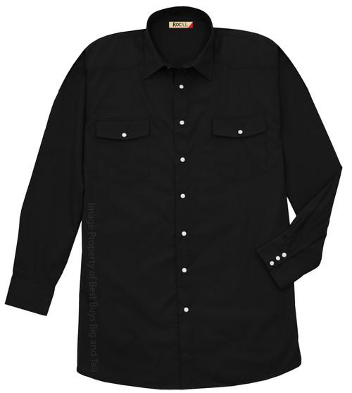 Black ROCXL Long Sleeve WESTERN SHIRT Lightweight