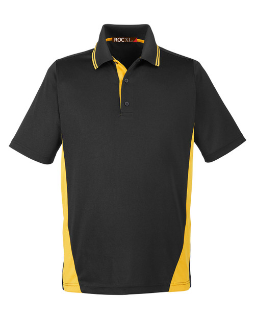 ROCXL Color Block POLO Shirt 3XL-6XL 2XLT-4XLT BLACK/Yellow #330C