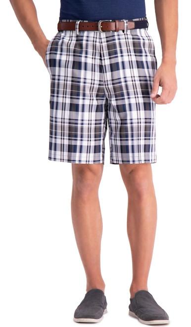 Haggar Cool 18 Pro Plaid Shorts NAVY Expandable Waist Sizes 44 - 60 #754