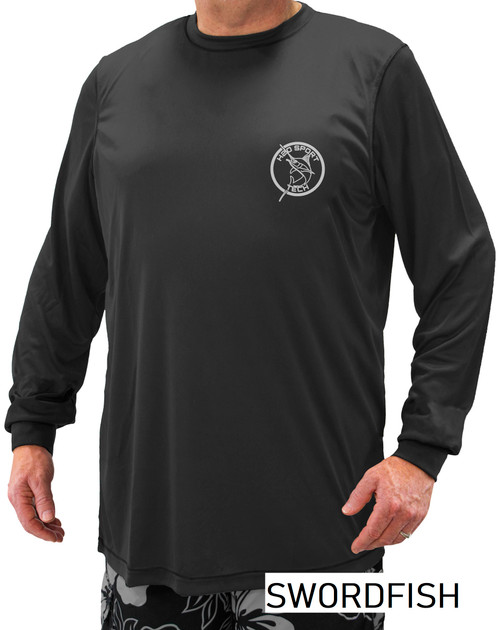 Swordfish Print - H2O Sport Tech Long Sleeve Swim Shirt BLACK #702A