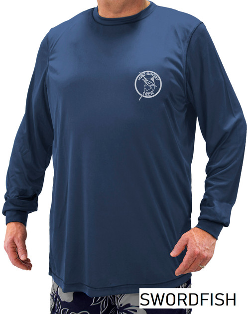 Swordfish Print - H2O Sport Tech Long Sleeve Swim Shirt NAVY #702B
